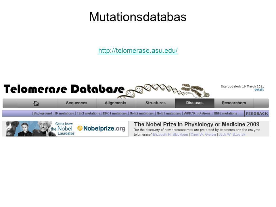 http://telomerase.asu.edu/ Mutationsdatabas