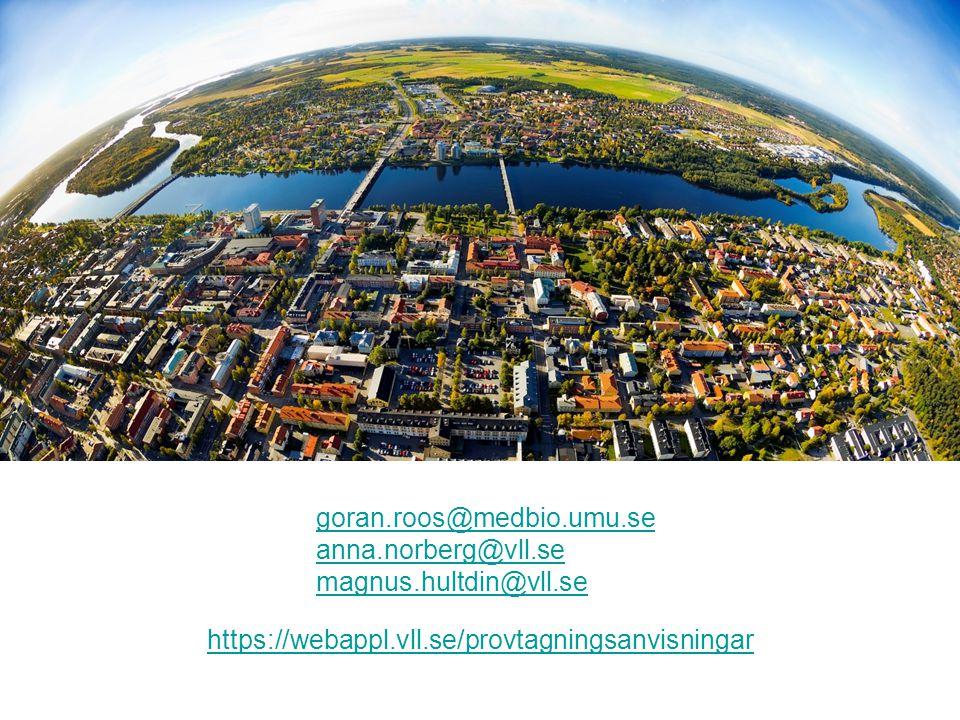 https://webappl.vll.se/provtagningsanvisningar goran.roos@medbio.umu.se anna.norberg@vll.se magnus.hultdin@vll.se