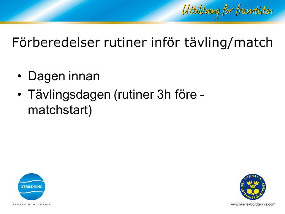 Förberedelser rutiner inför tävling/match Dagen innan Tävlingsdagen (rutiner 3h före - matchstart)