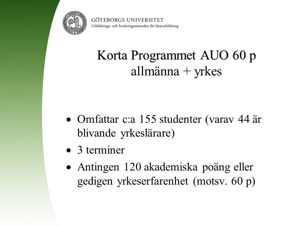 Korta Programmet AUO 60 p Korta Programmet AUO 60 p allmänna + yrkes  Omfattar c:a 155 studenter (varav 44 är blivande yrkeslärare)  3 terminer  An