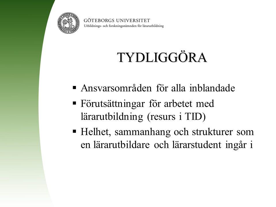 TYDLIGGÖRA  Ansvarsområden för alla inblandade  Förutsättningar för arbetet med lärarutbildning (resurs i TID)  Helhet, sammanhang och strukturer s