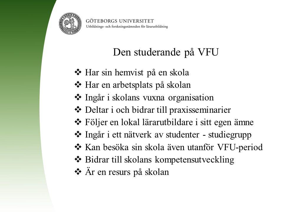 Den studerande på VFU  Har sin hemvist på en skola  Har en arbetsplats på skolan  Ingår i skolans vuxna organisation  Deltar i och bidrar till pra