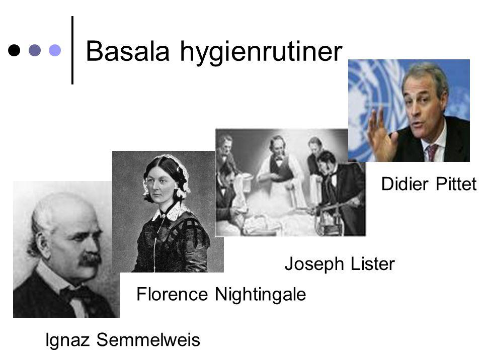 Basala hygienrutiner Ignaz Semmelweis Joseph Lister Florence Nightingale Didier Pittet