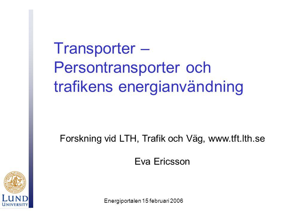 Energiportalen 15 februari 2006 Transporter – Persontransporter och trafikens energianvändning Forskning vid LTH, Trafik och Väg, www.tft.lth.se Eva Ericsson