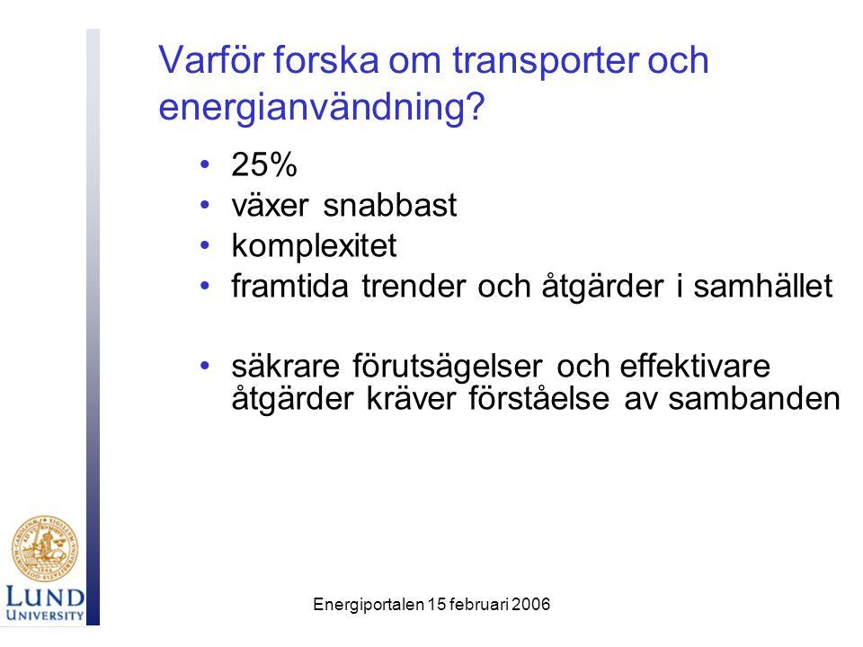 Energiportalen 15 februari 2006 Varför forska om transporter och energianvändning? 25% växer snabbast komplexitet framtida trender och åtgärder i samh