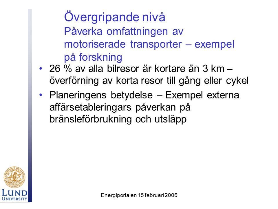 Energiportalen 15 februari 2006 Övergripande nivå Påverka omfattningen av motoriserade transporter – exempel på forskning 26 % av alla bilresor är kortare än 3 km – överförning av korta resor till gång eller cykel Planeringens betydelse – Exempel externa affärsetableringars påverkan på bränsleförbrukning och utsläpp