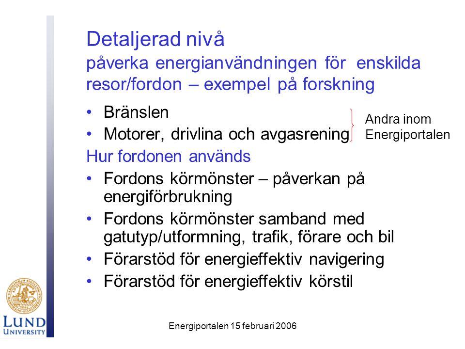Energiportalen 15 februari 2006 Detaljerad nivå påverka energianvändningen för enskilda resor/fordon – exempel på forskning Bränslen Motorer, drivlina