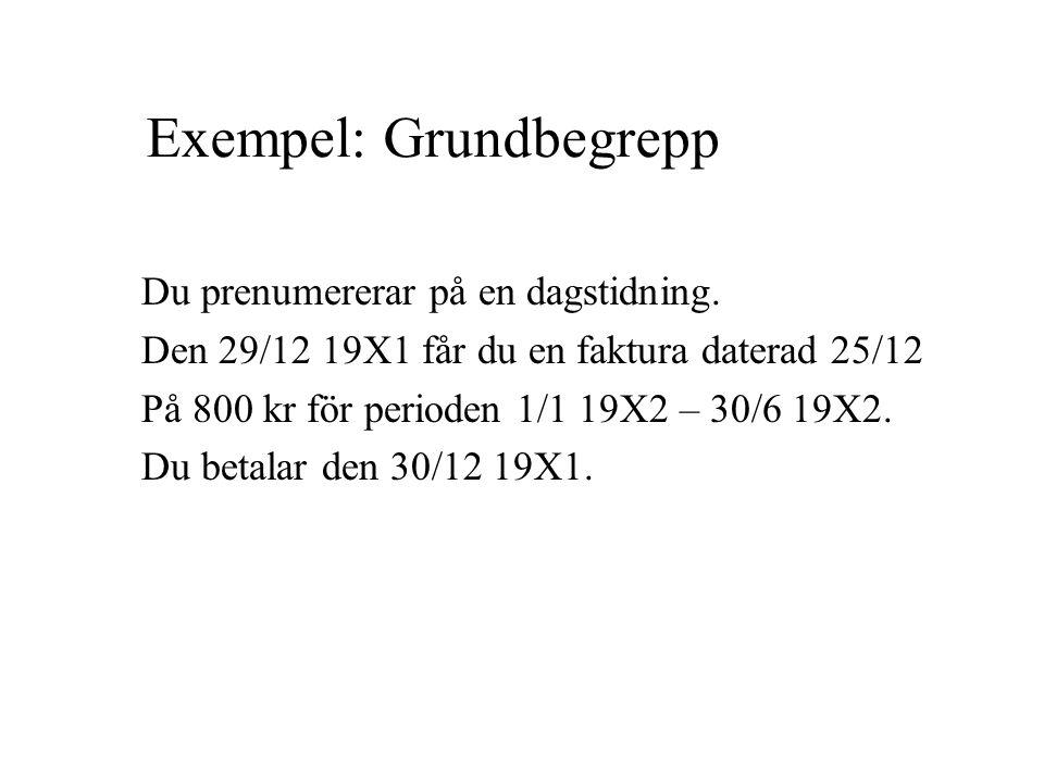 Exempel: Grundbegrepp Du prenumererar på en dagstidning. Den 29/12 19X1 får du en faktura daterad 25/12 På 800 kr för perioden 1/1 19X2 – 30/6 19X2. D