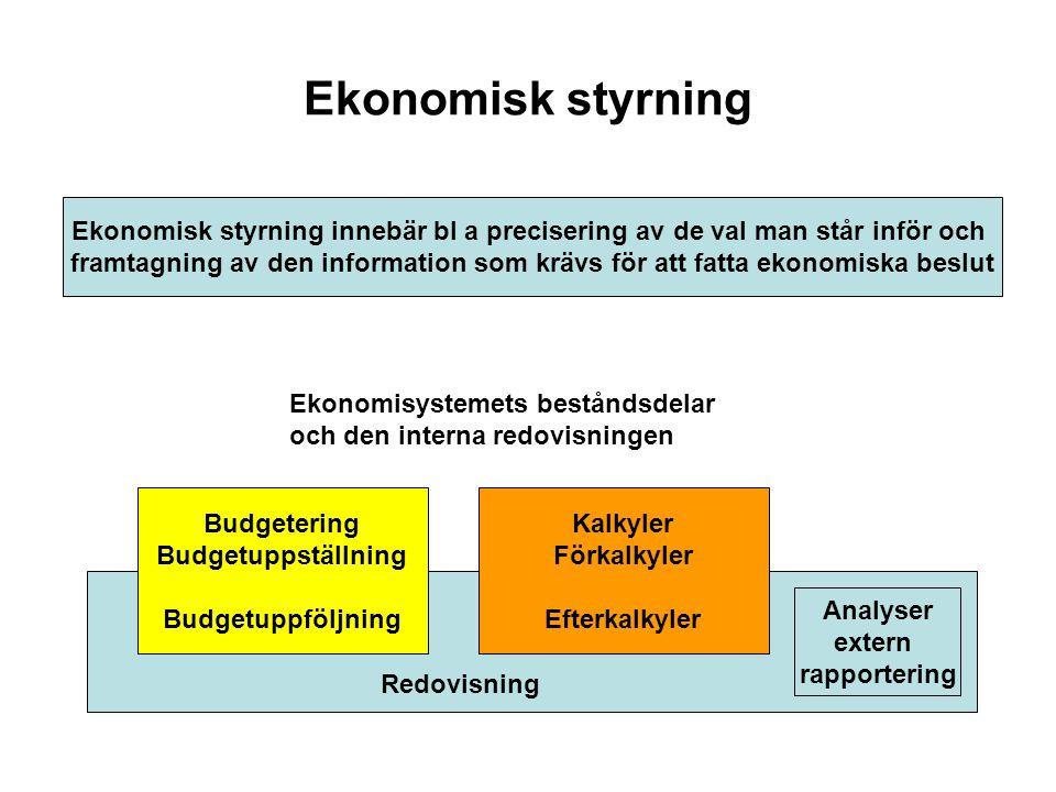 Ekonomisk styrning Ekonomisk styrning innebär bl a precisering av de val man står inför och framtagning av den information som krävs för att fatta eko
