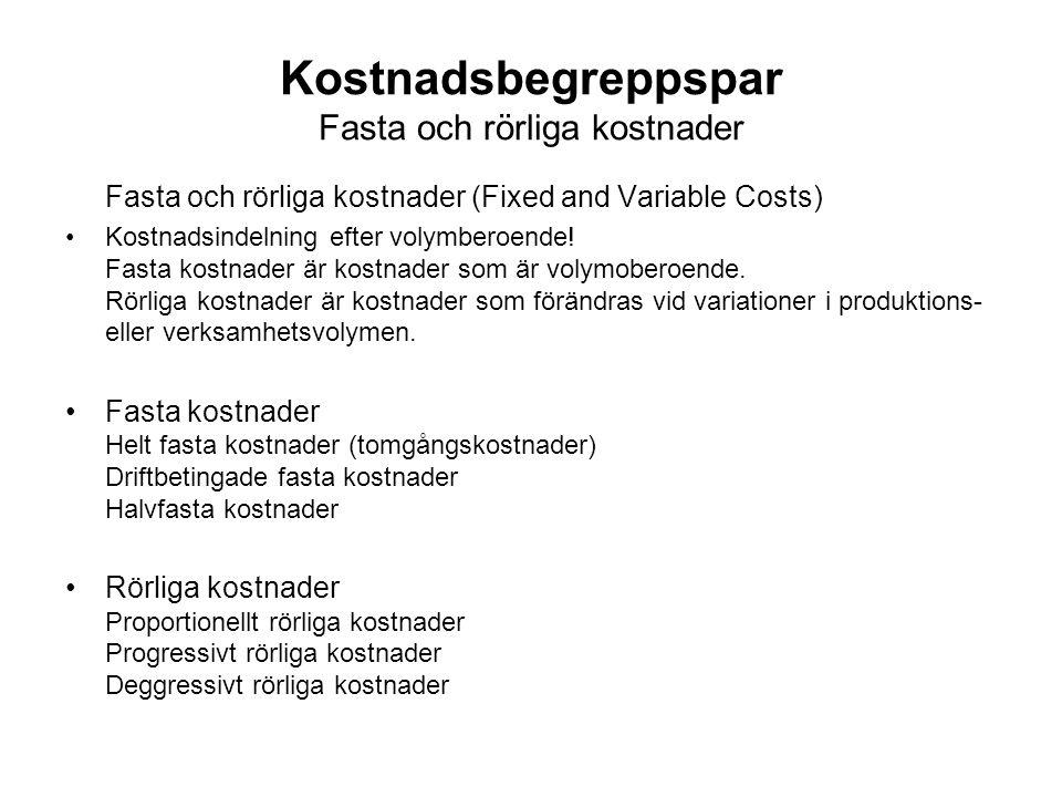 Kostnadsbegreppspar Fasta och rörliga kostnader Fasta och rörliga kostnader (Fixed and Variable Costs) Kostnadsindelning efter volymberoende! Fasta ko