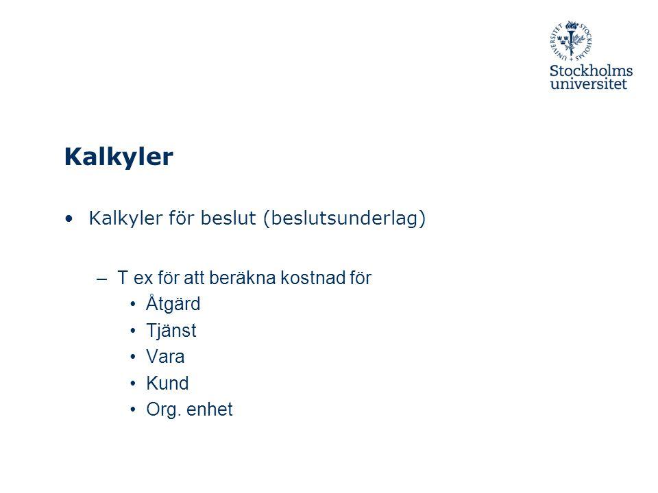 Kalkyler Kalkyler för beslut (beslutsunderlag) –T ex för att beräkna kostnad för Åtgärd Tjänst Vara Kund Org. enhet