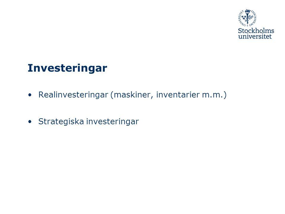 Investeringar Realinvesteringar (maskiner, inventarier m.m.) Strategiska investeringar