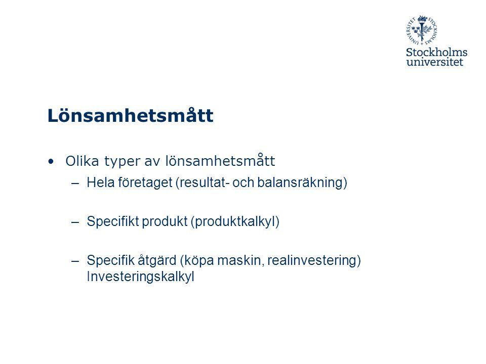 Lönsamhetsmått Olika typer av lönsamhetsmått –Hela företaget (resultat- och balansräkning) –Specifikt produkt (produktkalkyl) –Specifik åtgärd (köpa maskin, realinvestering) Investeringskalkyl