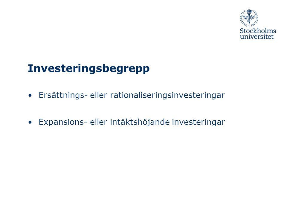 Investeringsbegrepp Ersättnings- eller rationaliseringsinvesteringar Expansions- eller intäktshöjande investeringar