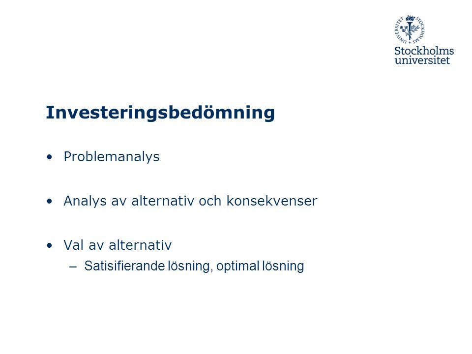 Investeringsbedömning Problemanalys Analys av alternativ och konsekvenser Val av alternativ –Satisifierande lösning, optimal lösning
