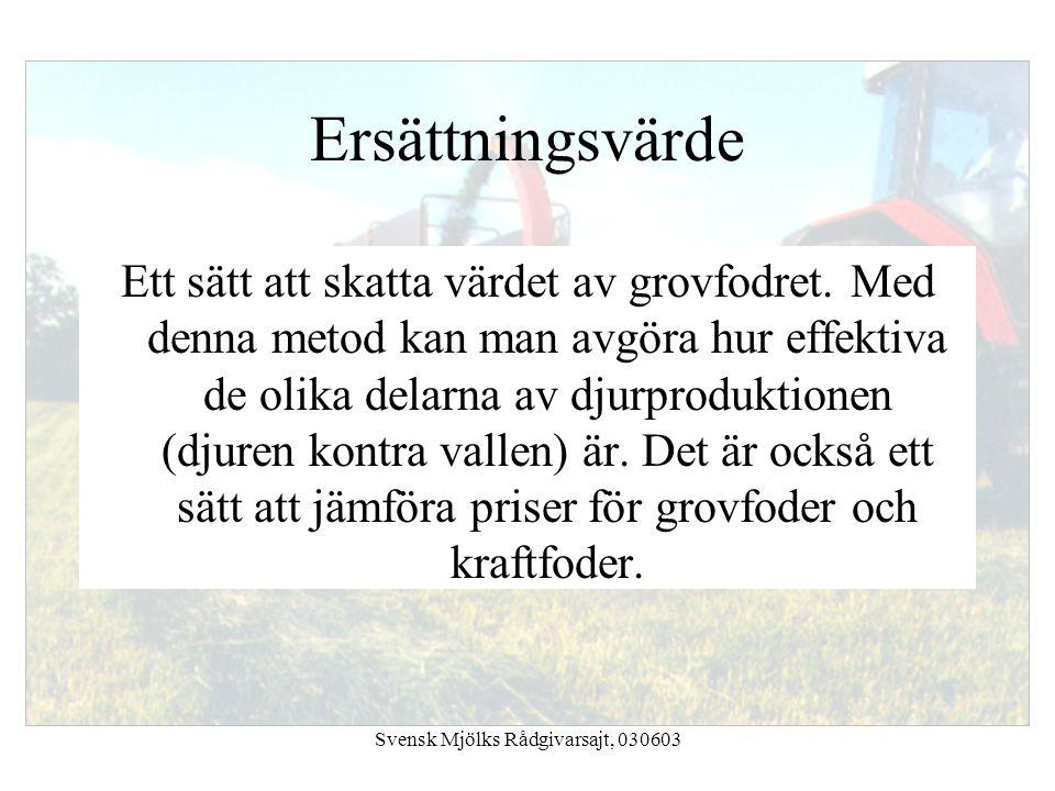 Svensk Mjölks Rådgivarsajt, 030603 Ersättningsvärde Ett sätt att skatta värdet av grovfodret. Med denna metod kan man avgöra hur effektiva de olika de