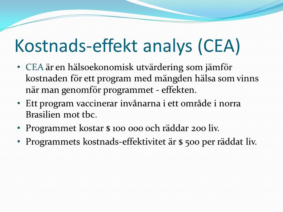 CEA är en hälsoekonomisk utvärdering som jämför kostnaden för ett program med mängden hälsa som vinns när man genomför programmet - effekten.
