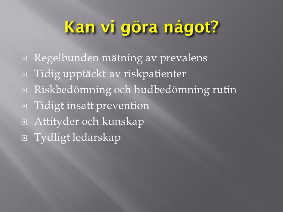 Kan vi göra något?  Regelbunden mätning av prevalens  Tidig upptäckt av riskpatienter  Riskbedömning och hudbedömning rutin  Tidigt insatt prevent