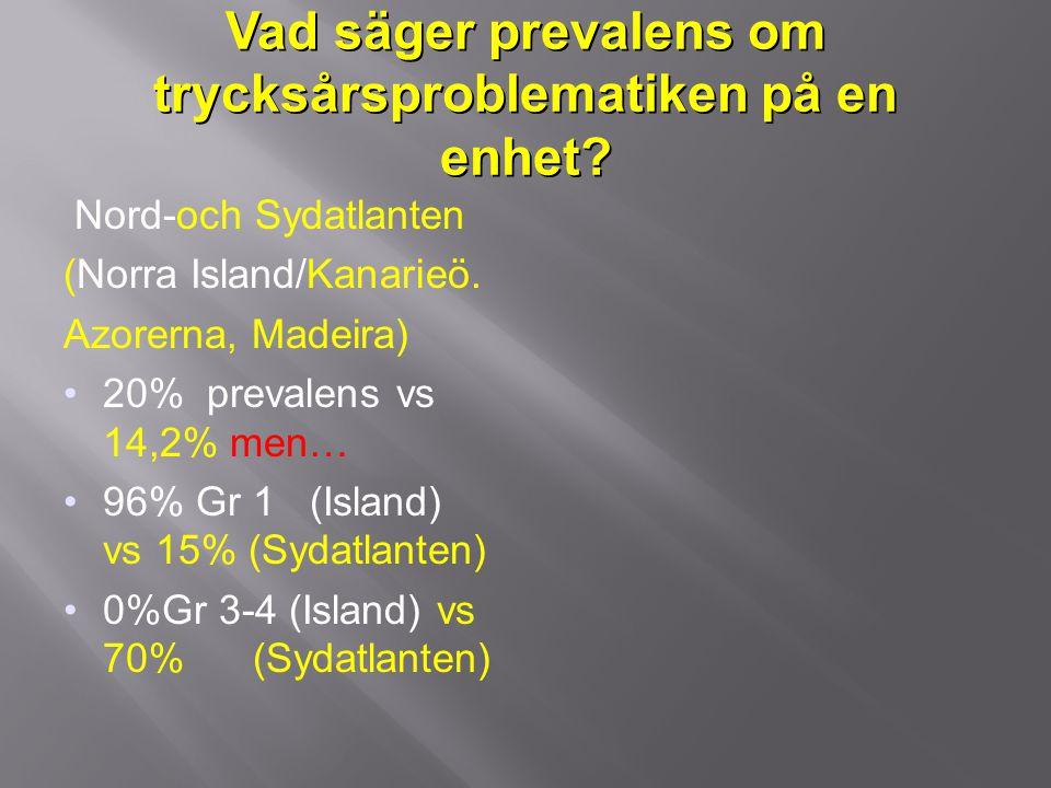 Vad säger prevalens om trycksårsproblematiken på en enhet? Nord-och Sydatlanten (Norra Island/Kanarieö. Azorerna, Madeira) 20% prevalens vs 14,2% men…