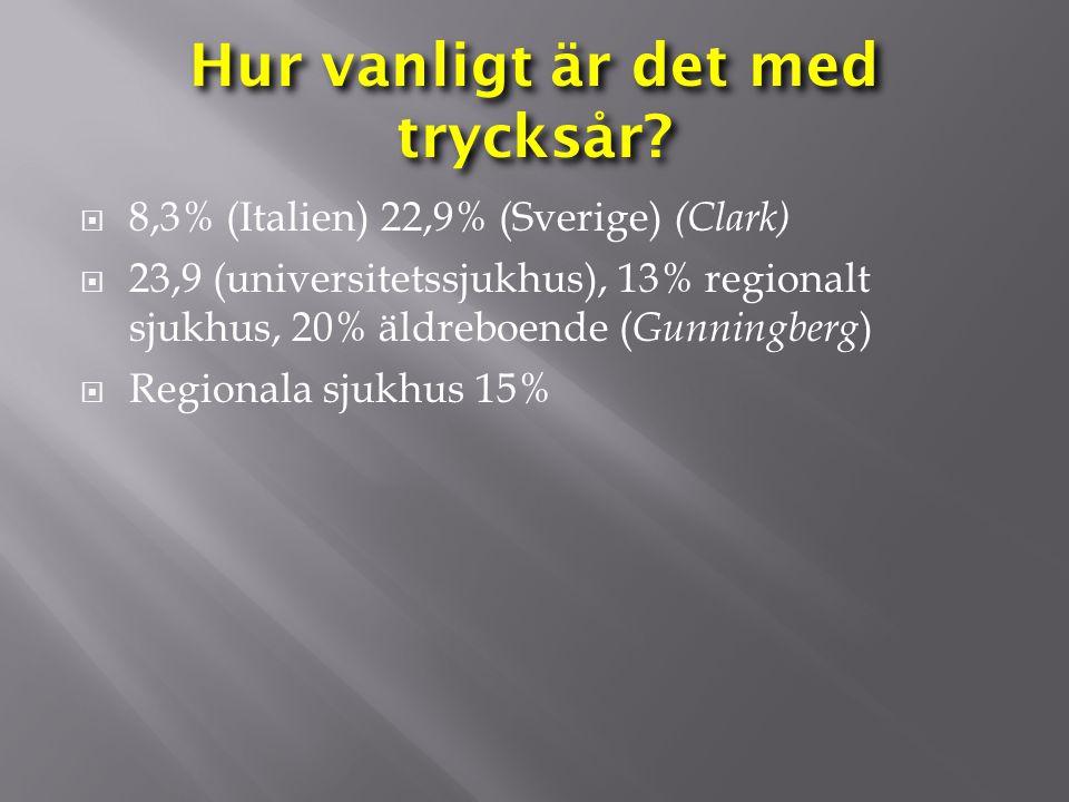 Hur vanligt är det med trycksår?  8,3% (Italien) 22,9% (Sverige) (Clark)  23,9 (universitetssjukhus), 13% regionalt sjukhus, 20% äldreboende ( Gunni
