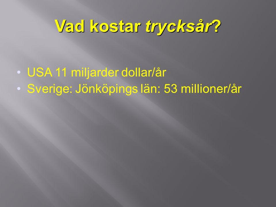 Kostnader  1/3 topp-kostnader (hjärt/kärlsjukdom, cancer, trycksår i Holland (Hallboom 1998)  5% av årliga hälso och sjukvårdskostnaderna i Spanien  89% sjukskötersketid, 0,6% utrustning, 1% förband ( Soldeville 2007 )