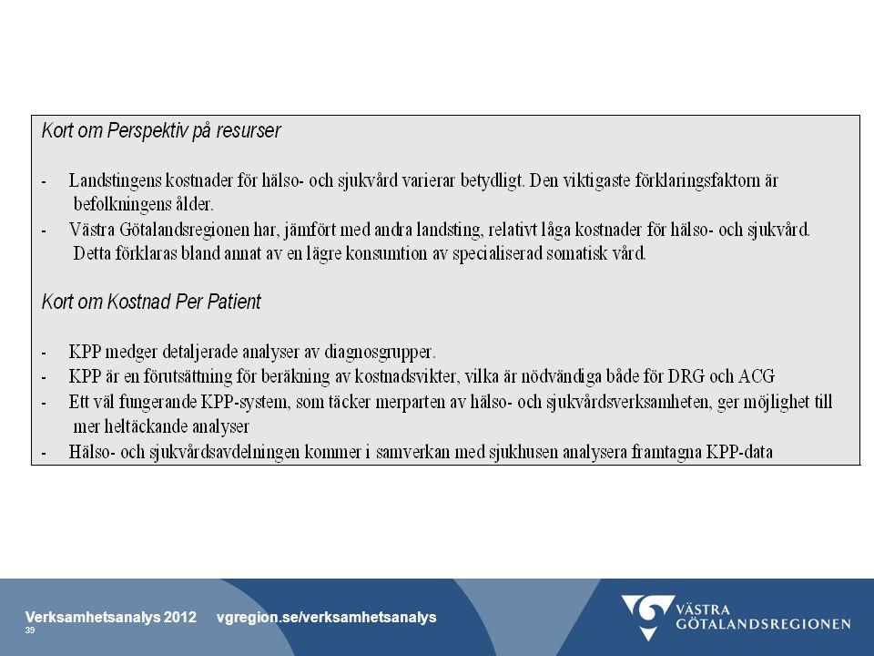 Verksamhetsanalys 2012 vgregion.se/verksamhetsanalys 39