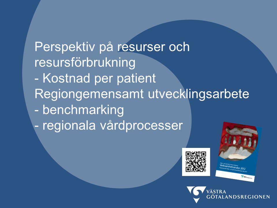 Perspektiv på resurser och resursförbrukning - Kostnad per patient Regiongemensamt utvecklingsarbete - benchmarking - regionala vårdprocesser