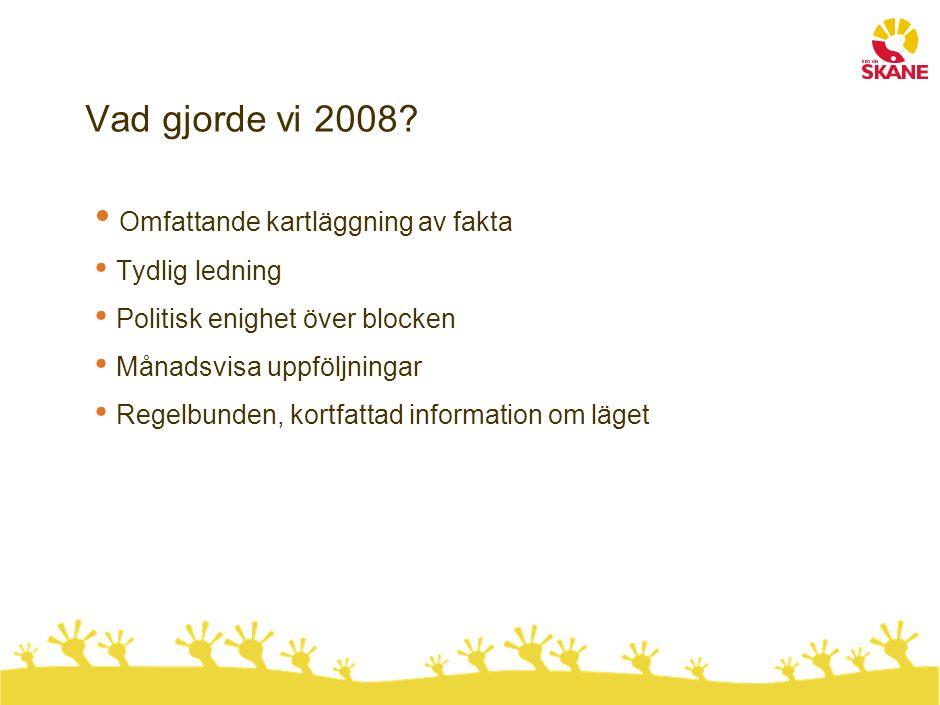 Vad gjorde vi 2008? Omfattande kartläggning av fakta Tydlig ledning Politisk enighet över blocken Månadsvisa uppföljningar Regelbunden, kortfattad inf
