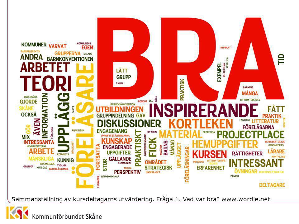 Sammanställning av kursdeltagarns utvärdering. Fråga 1. Vad var bra www.wordle.net
