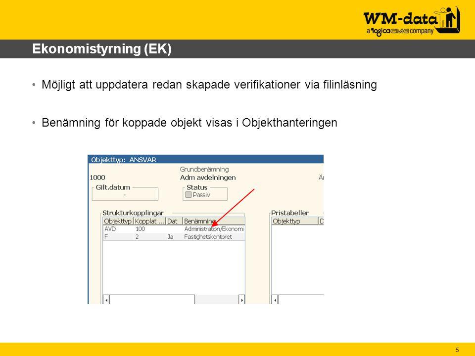 5 Ekonomistyrning (EK) Möjligt att uppdatera redan skapade verifikationer via filinläsning Benämning för koppade objekt visas i Objekthanteringen