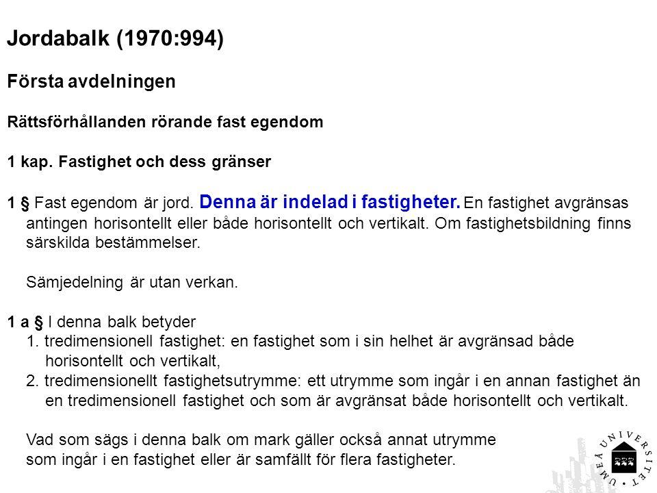 Jordabalk (1970:994) Första avdelningen Rättsförhållanden rörande fast egendom 1 kap. Fastighet och dess gränser 1 § Fast egendom är jord. Denna är in