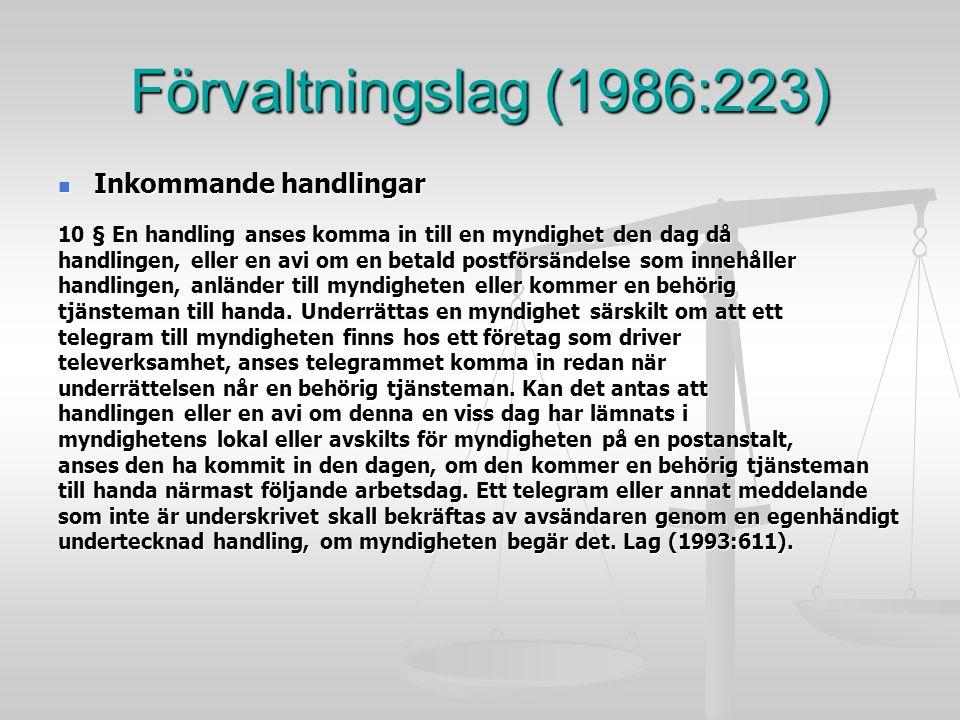 Förvaltningslag (1986:223) Inkommande handlingar Inkommande handlingar 10 § En handling anses komma in till en myndighet den dag då handlingen, eller