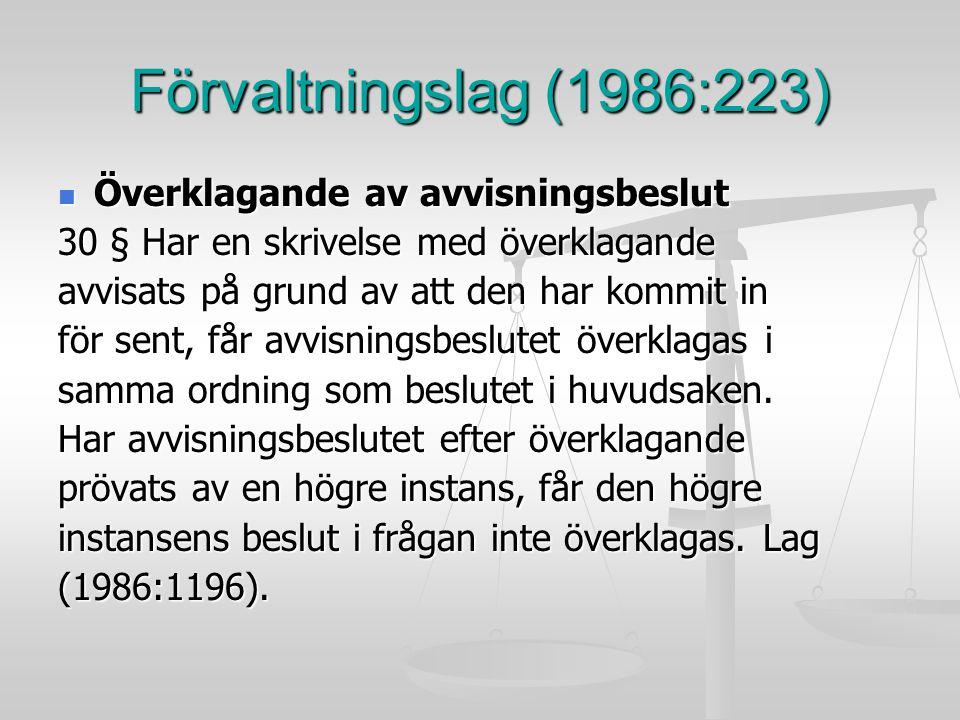 Förvaltningslag (1986:223) Överklagande av avvisningsbeslut Överklagande av avvisningsbeslut 30 § Har en skrivelse med överklagande avvisats på grund