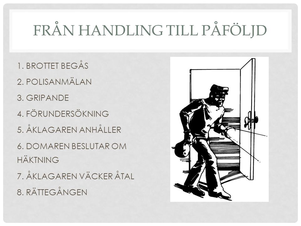 FRÅN HANDLING TILL PÅFÖLJD 1. BROTTET BEGÅS 2. POLISANMÄLAN 3. GRIPANDE 4. FÖRUNDERSÖKNING 5. ÅKLAGAREN ANHÅLLER 6. DOMAREN BESLUTAR OM HÄKTNING 7. ÅK