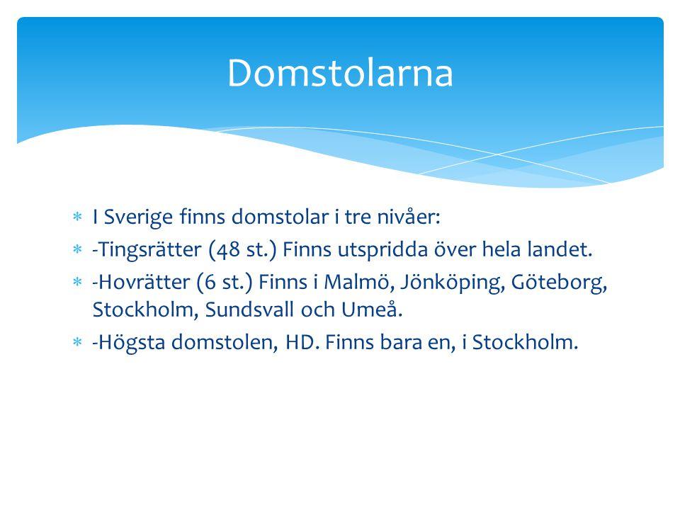  I Sverige finns domstolar i tre nivåer:  -Tingsrätter (48 st.) Finns utspridda över hela landet.  -Hovrätter (6 st.) Finns i Malmö, Jönköping, Göt