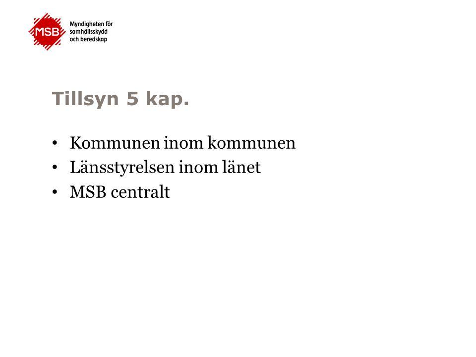 Tillsyn 5 kap. Kommunen inom kommunen Länsstyrelsen inom länet MSB centralt