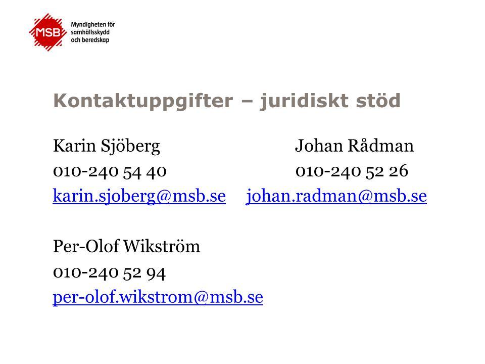 Kontaktuppgifter – juridiskt stöd Karin SjöbergJohan Rådman 010-240 54 40010-240 52 26 karin.sjoberg@msb.sejohan.radman@msb.se Per-Olof Wikström 010-2