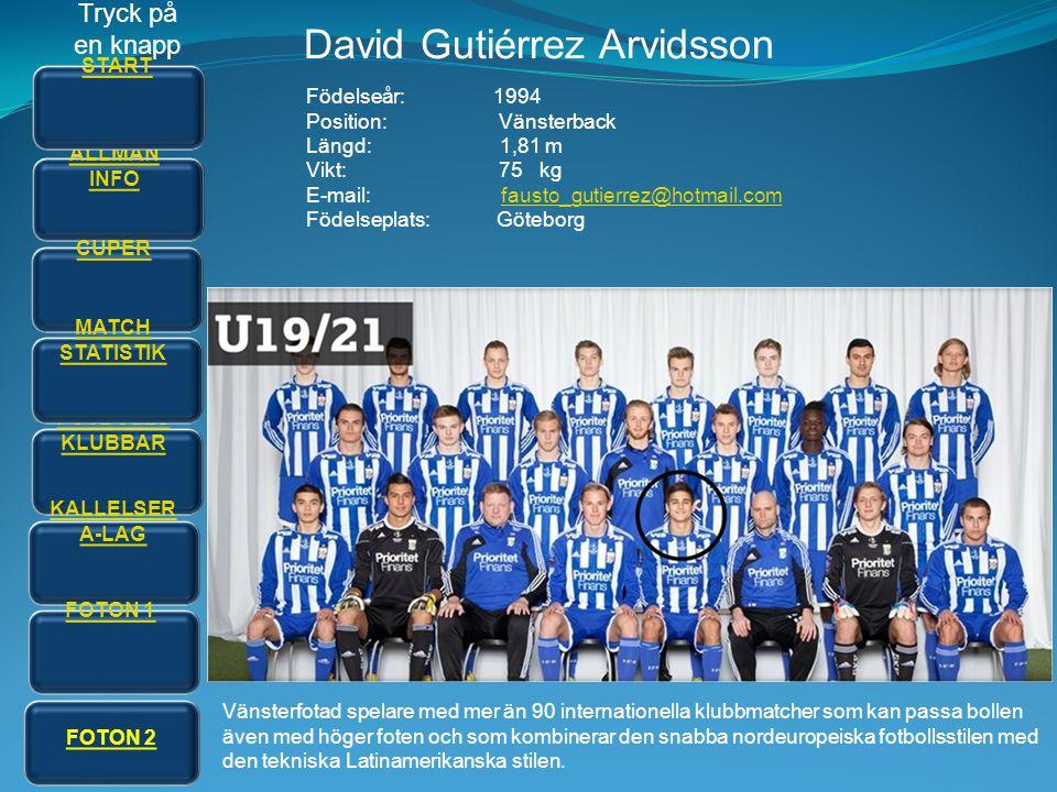 David Gutiérrez Arvidsson Födelseår: 1994 Position: Vänsterback Längd: 1,81 m Vikt: 75 kg E-mail: fausto_gutierrez@hotmail.comfausto_gutierrez@hotmail