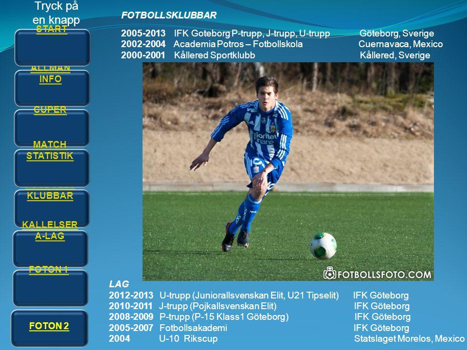 FOTBOLLSKLUBBAR 2005-2013 IFK Goteborg P-trupp, J-trupp, U-trupp Göteborg, Sverige 2002-2004 Academia Potros – Fotbollskola Cuernavaca, Mexico 2000-20