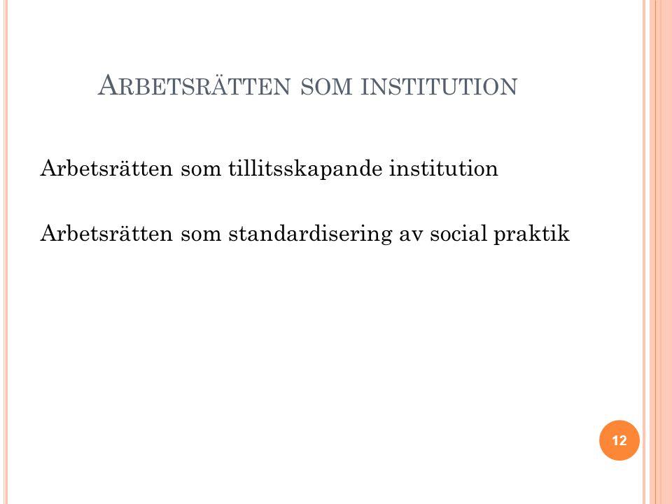 A RBETSRÄTTEN SOM INSTITUTION Arbetsrätten som tillitsskapande institution Arbetsrätten som standardisering av social praktik 12