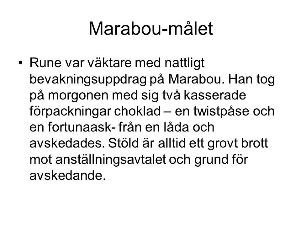 Marabou-målet Rune var väktare med nattligt bevakningsuppdrag på Marabou. Han tog på morgonen med sig två kasserade förpackningar choklad – en twistpå