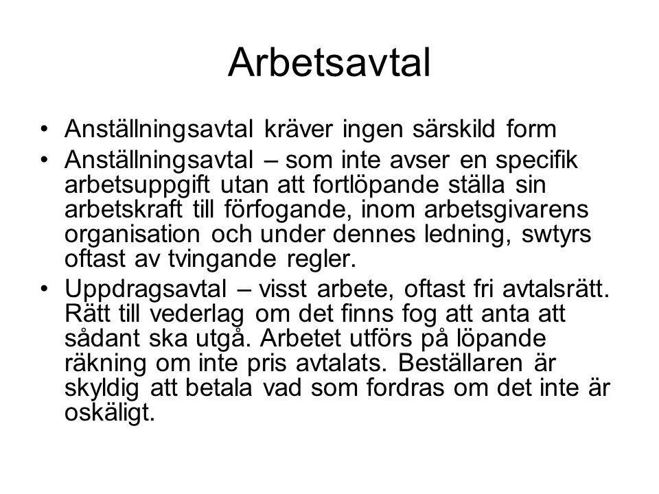 Arbetstagare/uppdragstagare NJA 1992 s.631.