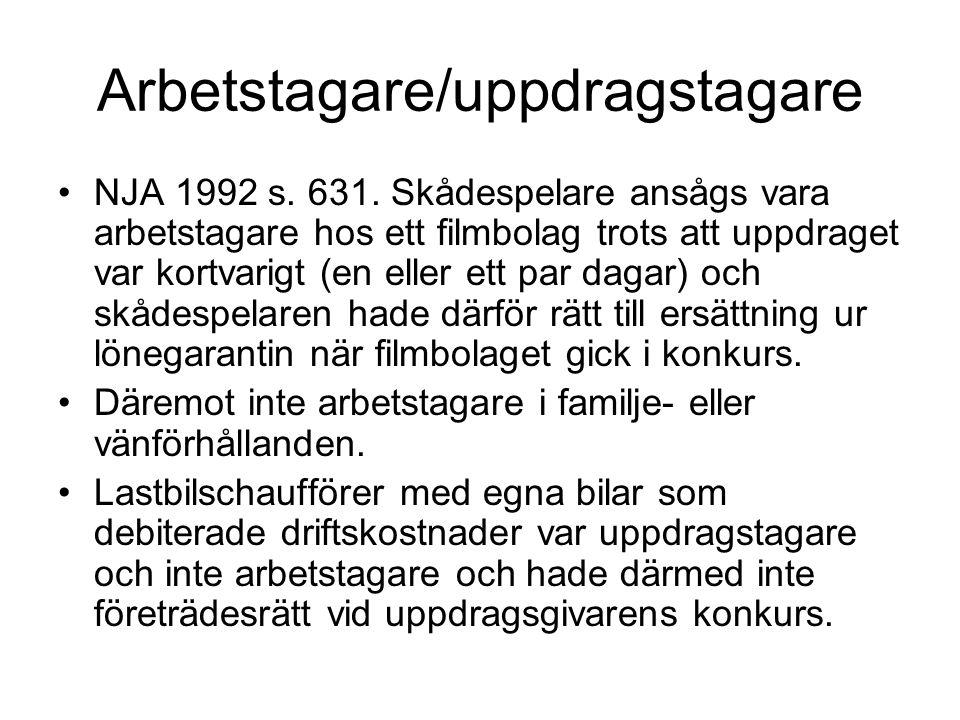 Arbetstagare/uppdragstagare NJA 1992 s. 631. Skådespelare ansågs vara arbetstagare hos ett filmbolag trots att uppdraget var kortvarigt (en eller ett