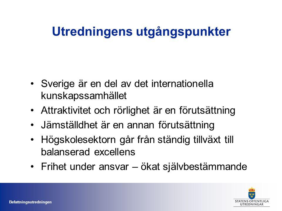 Befattningsutredningen Utredningens utgångspunkter Sverige är en del av det internationella kunskapssamhället Attraktivitet och rörlighet är en förutsättning Jämställdhet är en annan förutsättning Högskolesektorn går från ständig tillväxt till balanserad excellens Frihet under ansvar – ökat självbestämmande