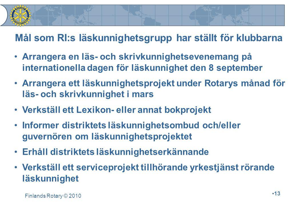 Finlands Rotary © 2010 13 Arrangera en läs- och skrivkunnighetsevenemang på internationella dagen för läskunnighet den 8 september Arrangera ett läsku