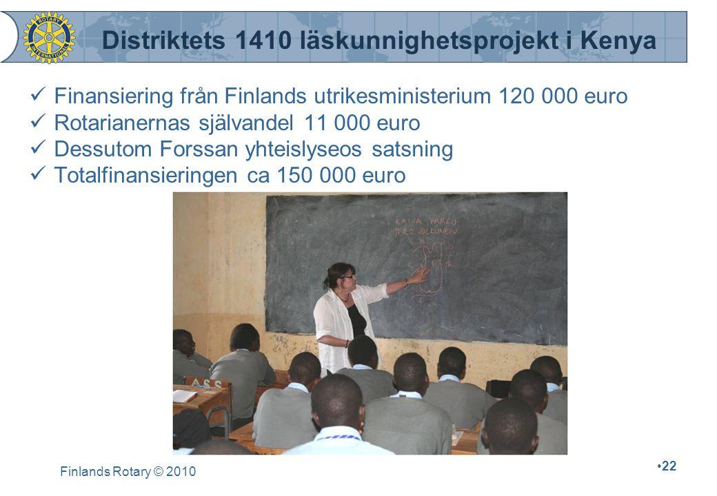 Finlands Rotary © 2010 22 Finansiering från Finlands utrikesministerium 120 000 euro Rotarianernas självandel 11 000 euro Dessutom Forssan yhteislyseo