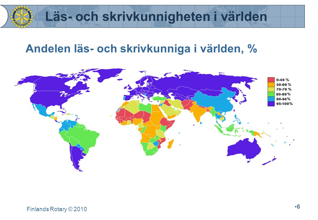 Finlands Rotary © 2010 7 Läs- och skrivkunnigheten bland vuxna i vissa delar världen, % Niger14Kina82 Somalien24Portugal87 Nepal28Grekland 95 Afghanistan32Ryssland98 Etiopien36USA97 Namibien38Sverige99 Haiti45Finland100 Indien52 Kenya78