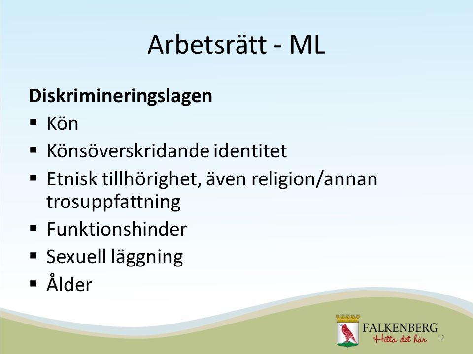 Arbetsrätt - ML Diskrimineringslagen  Kön  Könsöverskridande identitet  Etnisk tillhörighet, även religion/annan trosuppfattning  Funktionshinder
