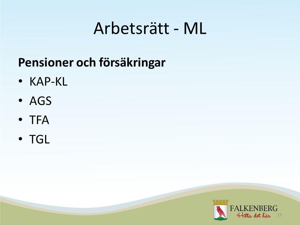 Arbetsrätt - ML Pensioner och försäkringar KAP-KL AGS TFA TGL 15