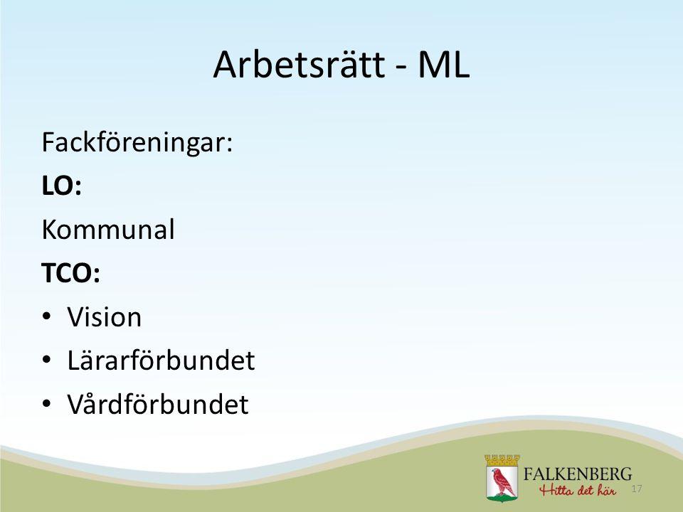 Arbetsrätt - ML Fackföreningar: LO: Kommunal TCO: Vision Lärarförbundet Vårdförbundet 17